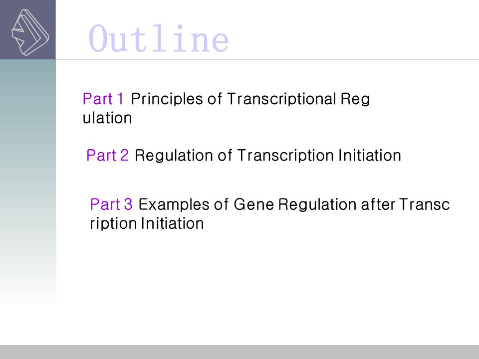 Outline Part 1 Principles of Transcriptional Regulation