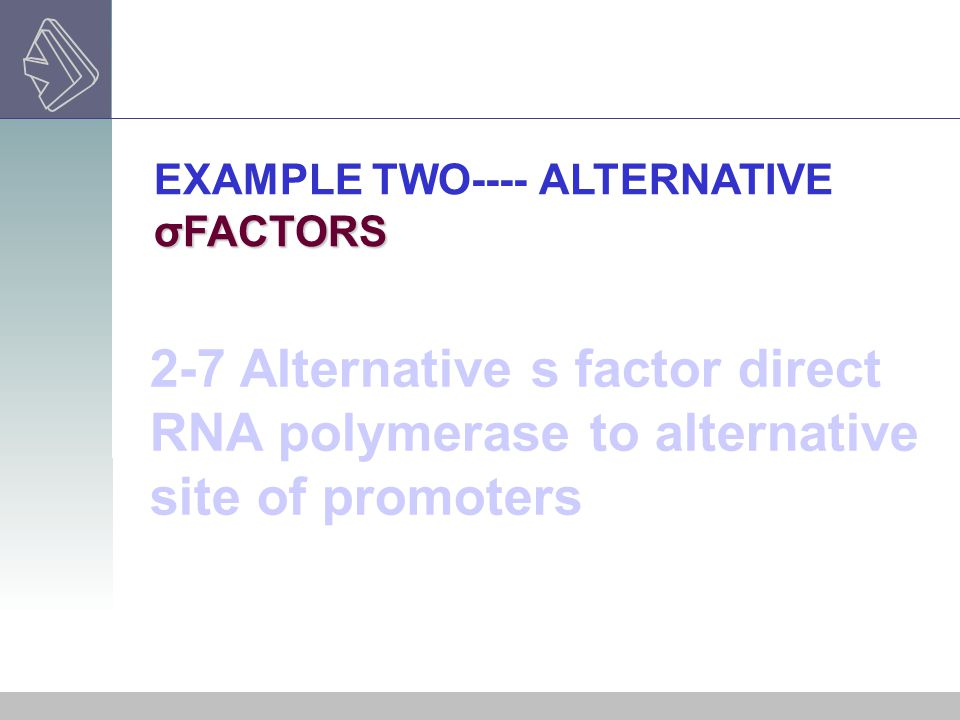 EXAMPLE TWO---- ALTERNATIVE σFACTORS