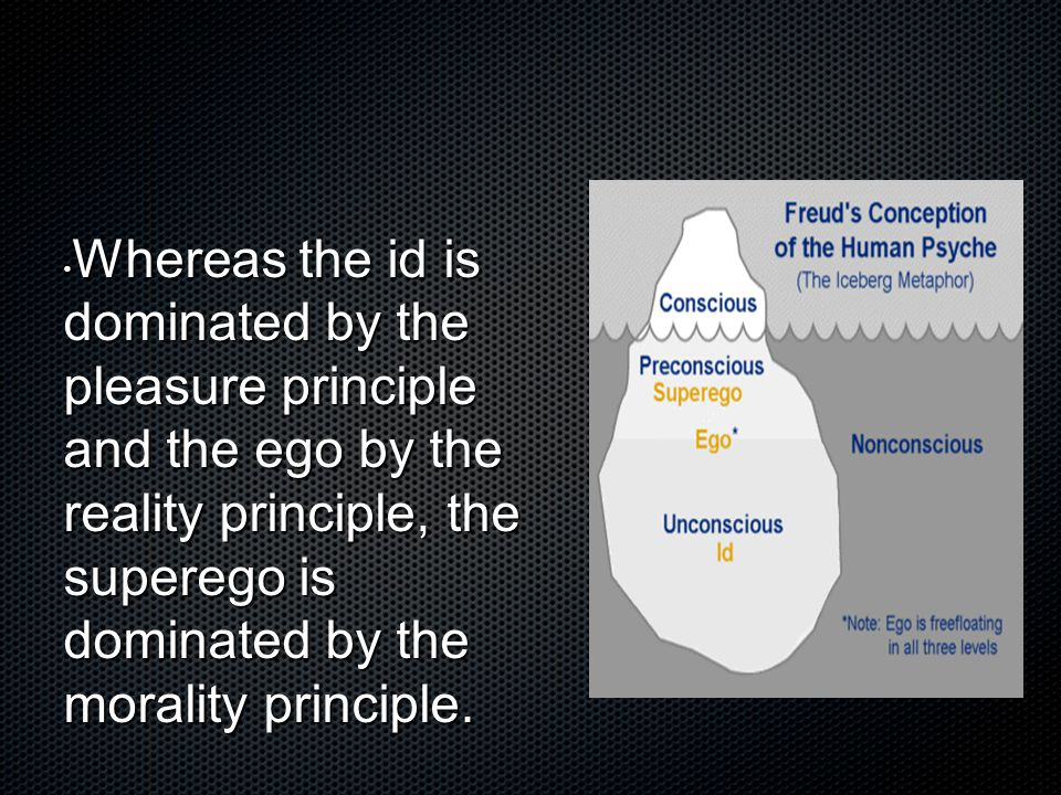 Whereas the id is dominated by the pleasure principle and the ego by the reality principle, the superego is dominated by the morality principle.