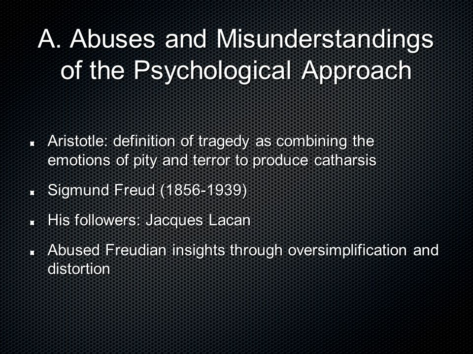 A. Abuses and Misunderstandings of the Psychological Approach