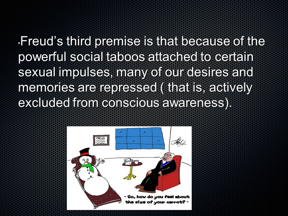 Freud's third premise is that because of the powerful social taboos attached to certain sexual impulses, many of our desires and memories are repressed ( that is, actively excluded from conscious awareness).