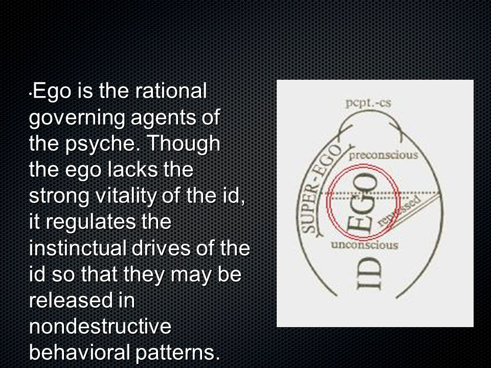 Ego is the rational governing agents of the psyche