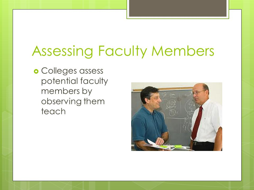 Assessing Faculty Members