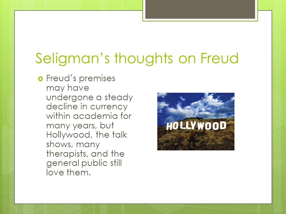 Seligman's thoughts on Freud