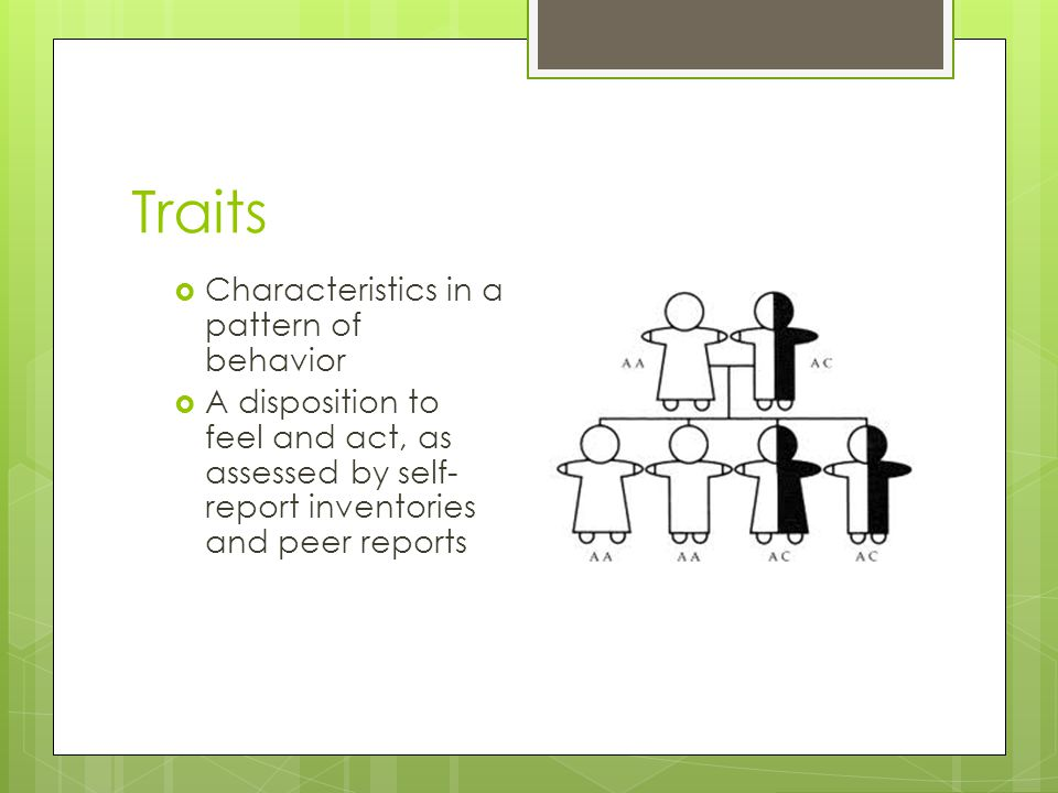 Traits Characteristics in a pattern of behavior