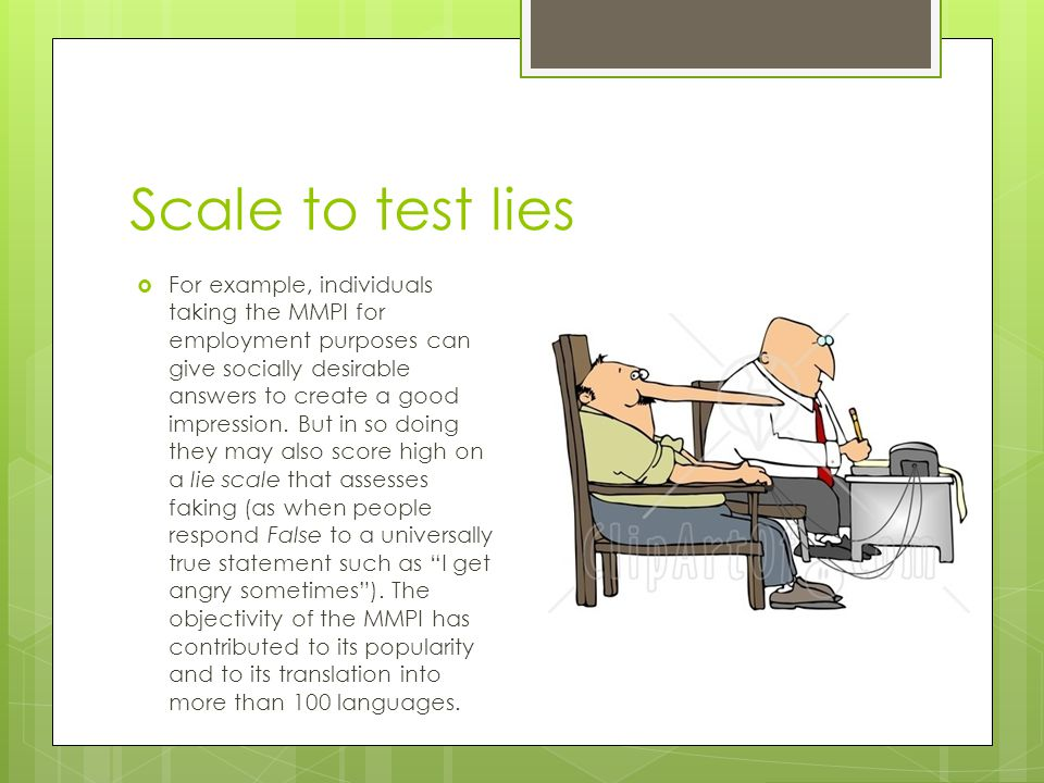 Scale to test lies