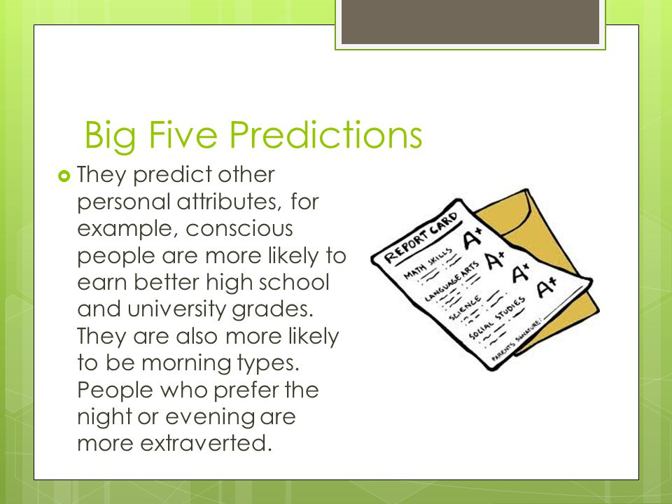 Big Five Predictions