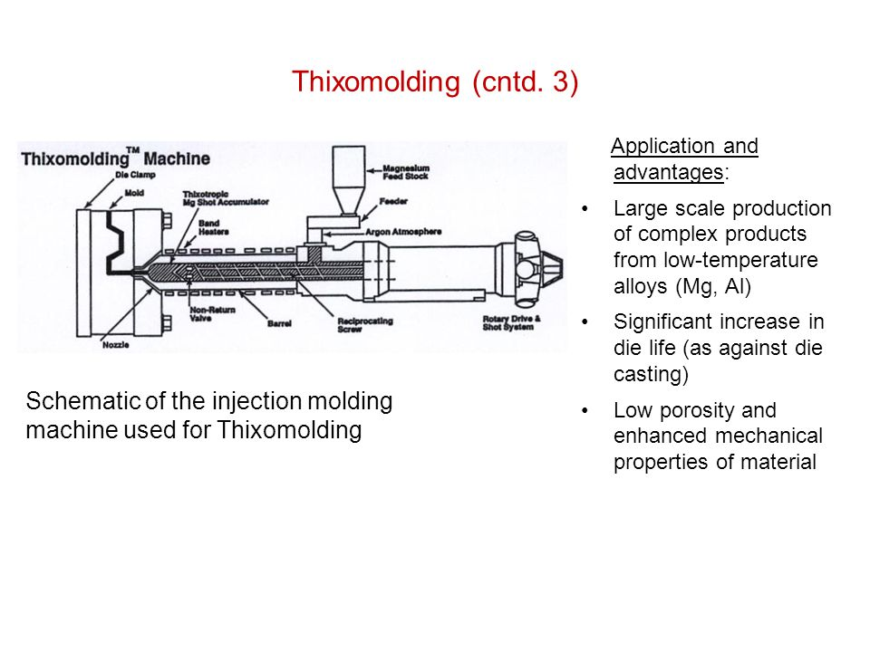 Thixomolding (cntd. 3) Application and advantages: Large scale production of complex products from low-temperature alloys (Mg, Al)