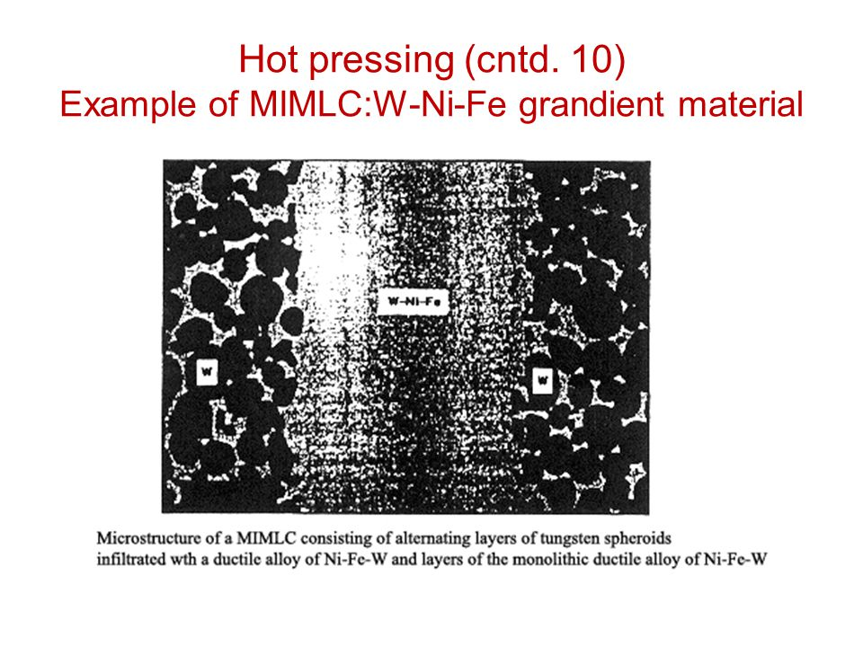 Hot pressing (cntd. 10) Example of MIMLC:W-Ni-Fe grandient material