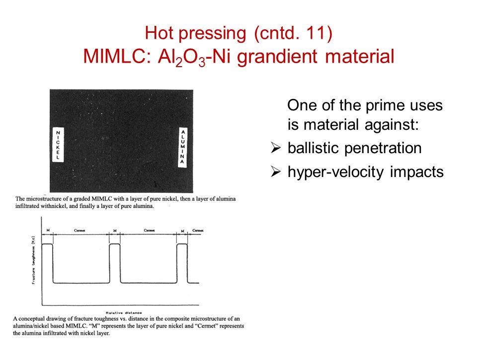 Hot pressing (cntd. 11) MIMLC: Al2O3-Ni grandient material