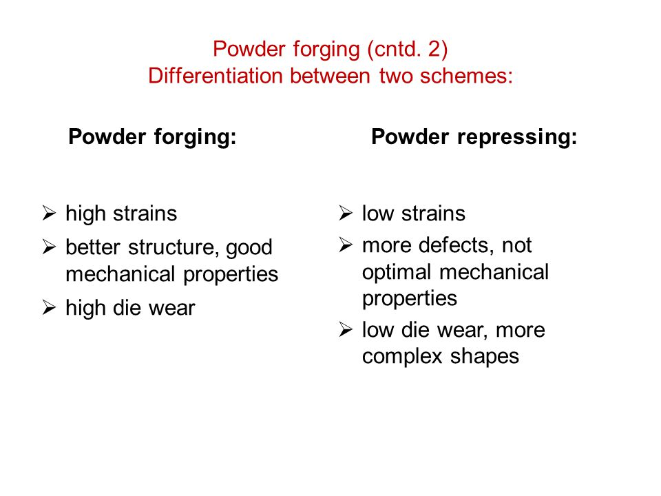 Powder forging (cntd. 2) Differentiation between two schemes:
