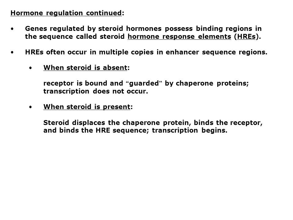 Hormone regulation continued: