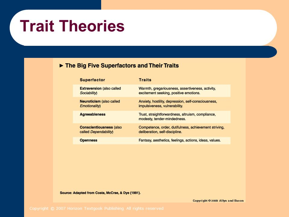 Trait Theories Copyright © 2007 Horizon Textgook Publishing All rights reserved 2 2