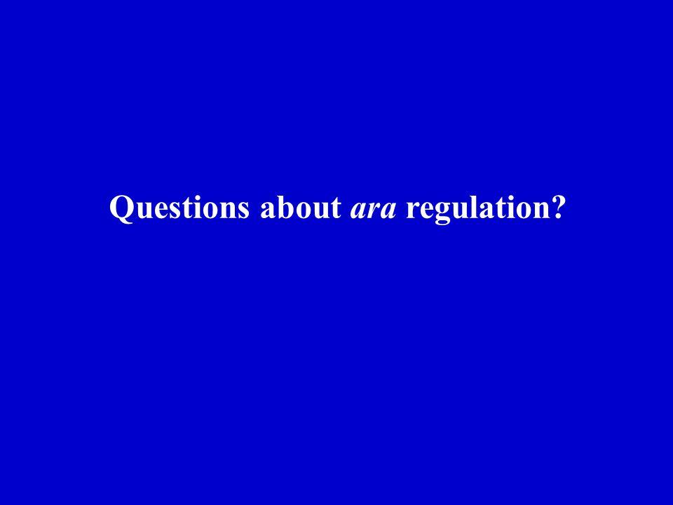 Questions about ara regulation