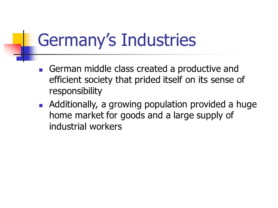 Germany's Industries German middle class created a productive and efficient society that prided itself on its sense of responsibility.