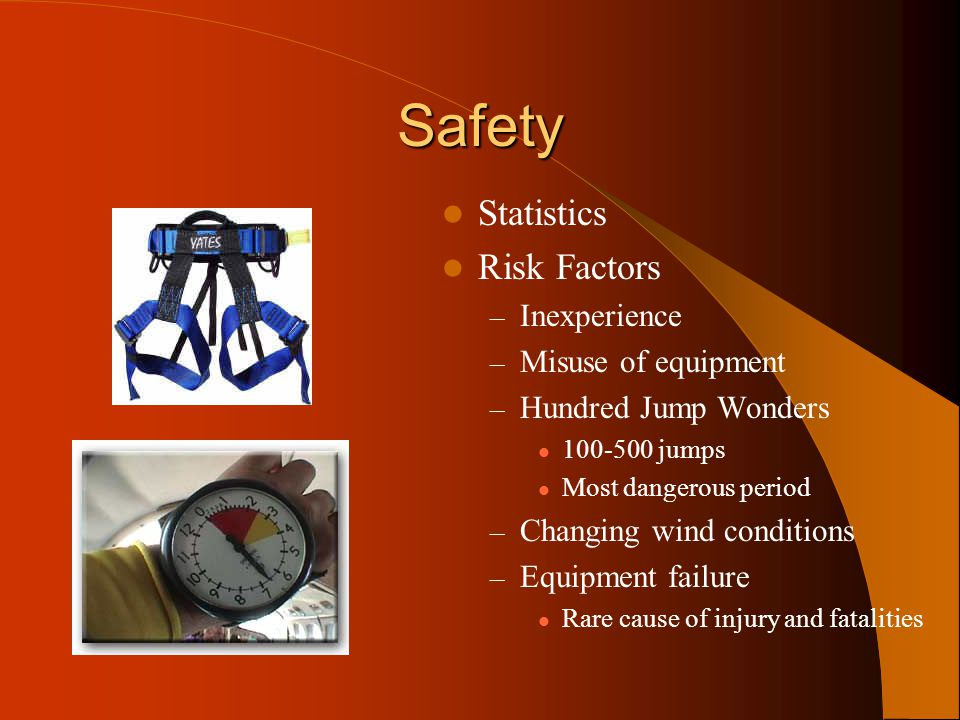 Safety Statistics Risk Factors Inexperience Misuse of equipment