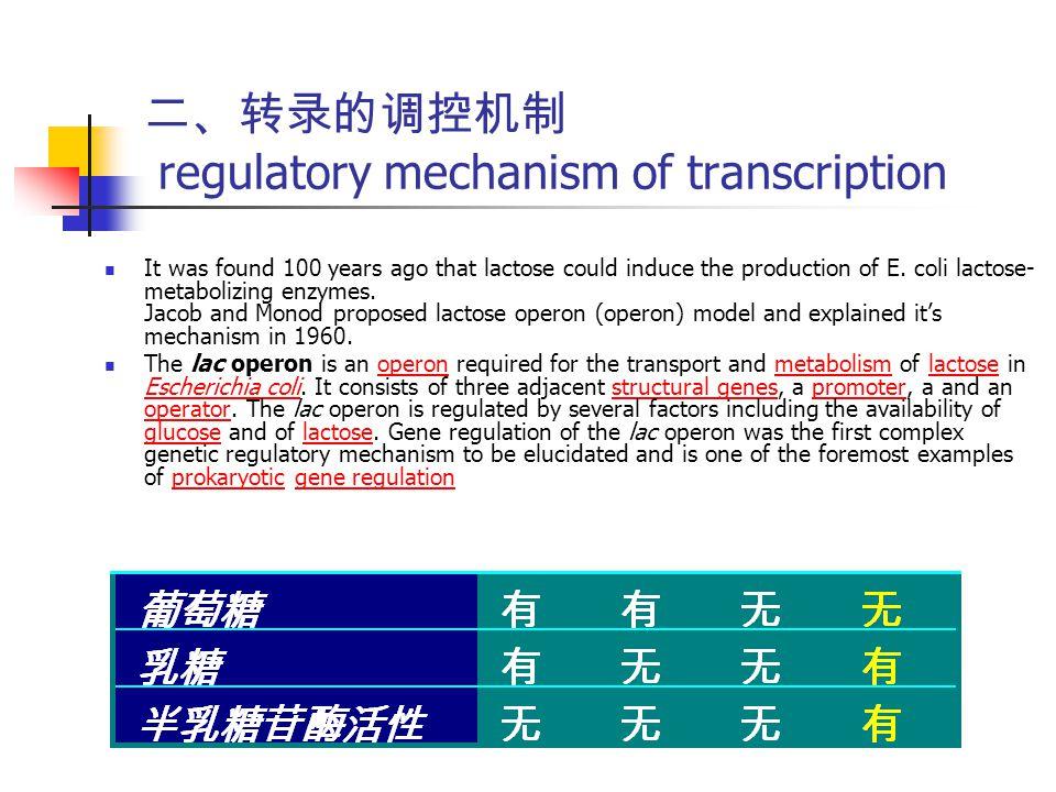 二、转录的调控机制 regulatory mechanism of transcription