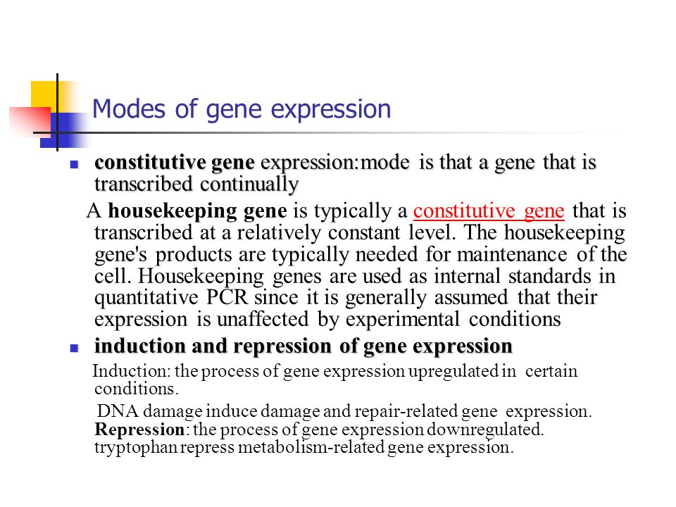 Modes of gene expression