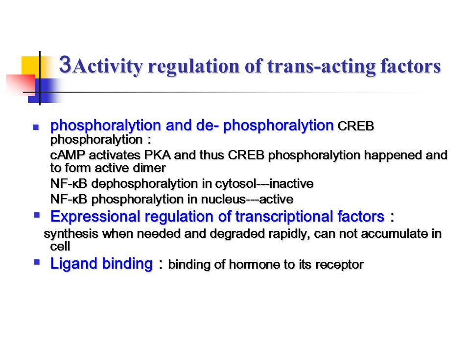 3Activity regulation of trans-acting factors