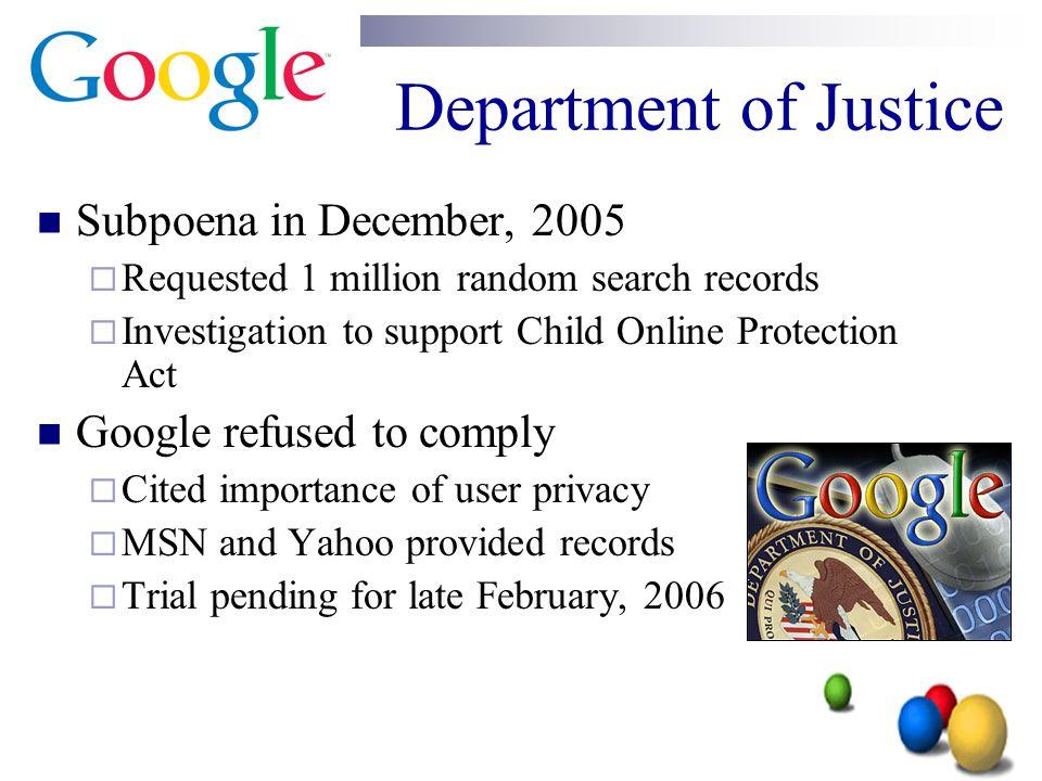 Department of Justice Subpoena in December, 2005