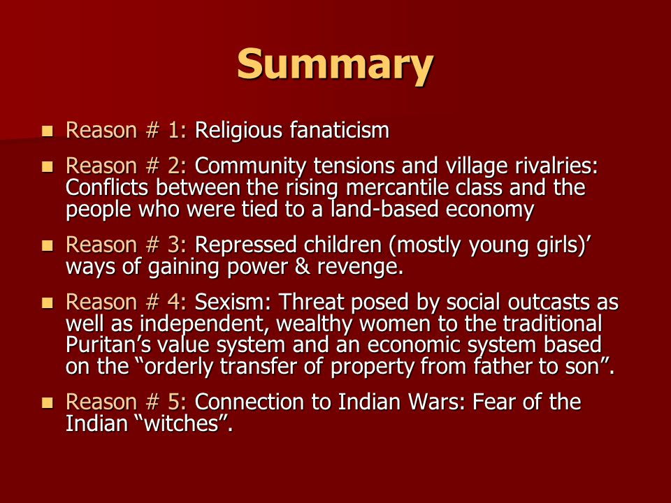 Summary Reason # 1: Religious fanaticism