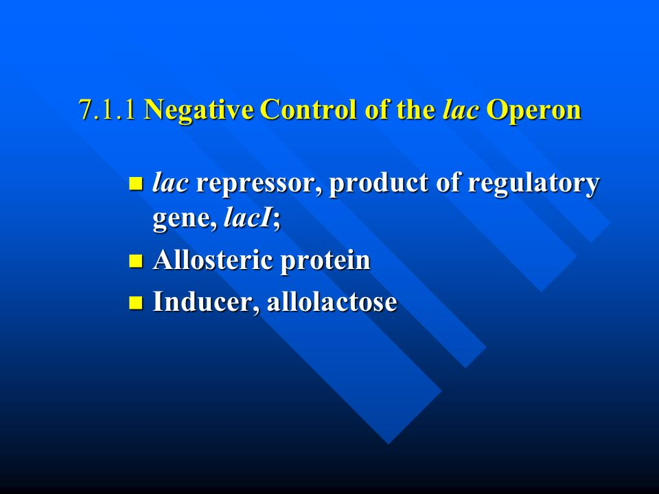 7.1.1 Negative Control of the lac Operon