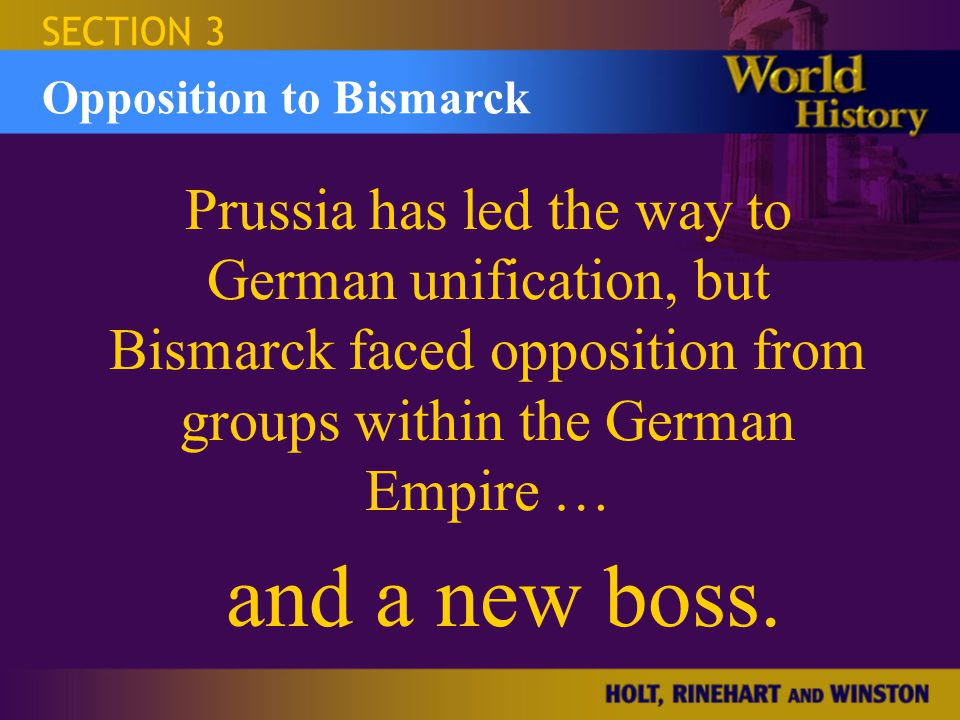 SECTION 3 Israel and the Occupied Territories. Opposition to Bismarck.