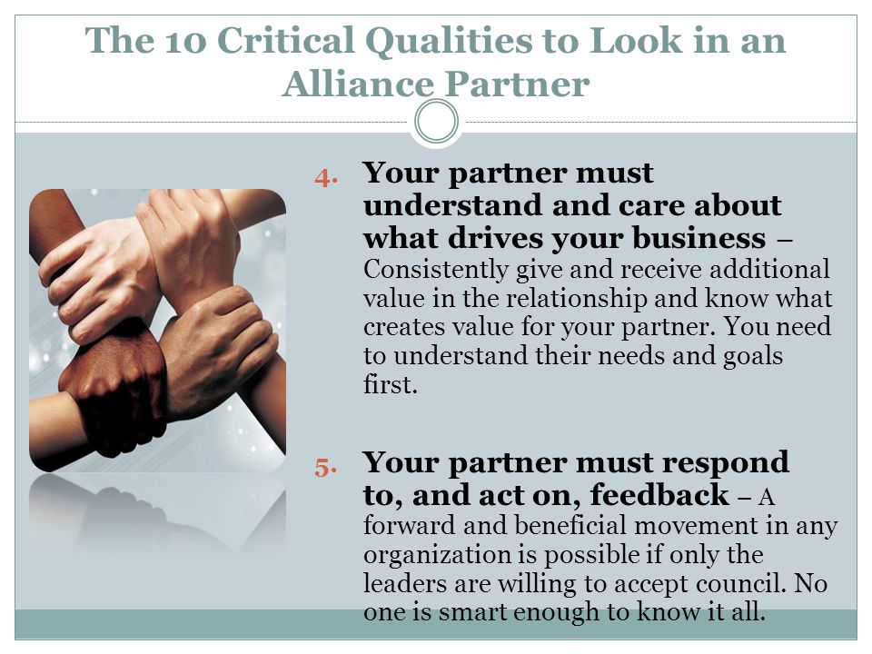 The 10 Critical Qualities to Look in an Alliance Partner