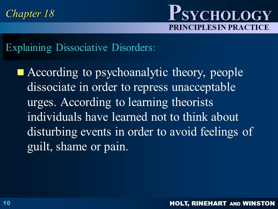 Explaining Dissociative Disorders: