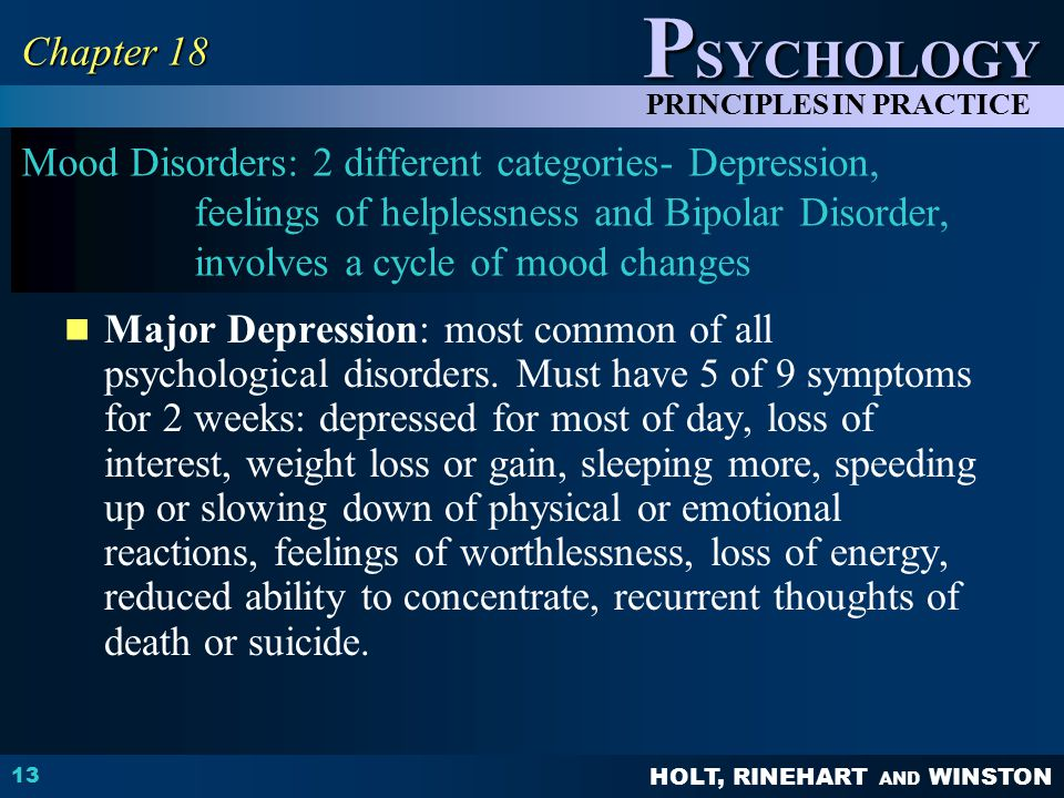 Chapter 18 Mood Disorders: 2 different categories- Depression, feelings of helplessness and Bipolar Disorder, involves a cycle of mood changes.