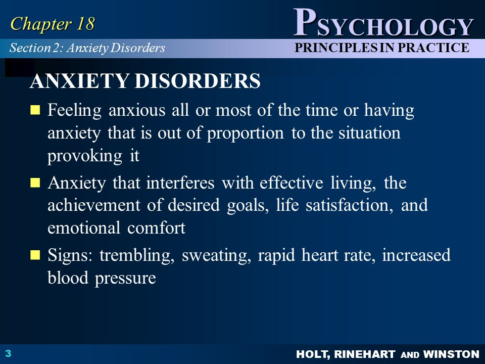 ANXIETY DISORDERS Chapter 18