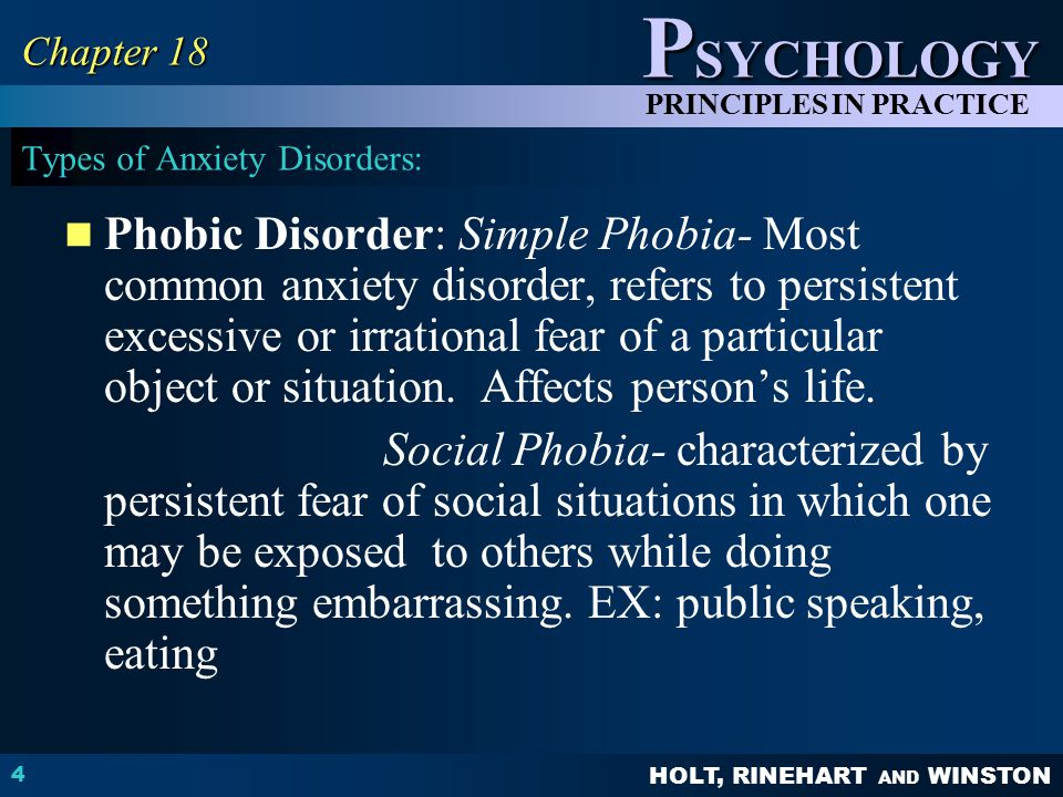 Types of Anxiety Disorders: