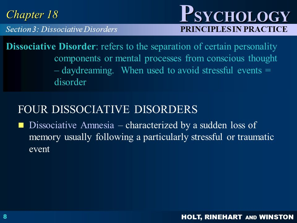 FOUR DISSOCIATIVE DISORDERS