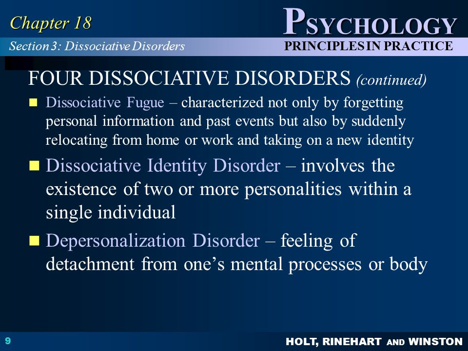 FOUR DISSOCIATIVE DISORDERS (continued)
