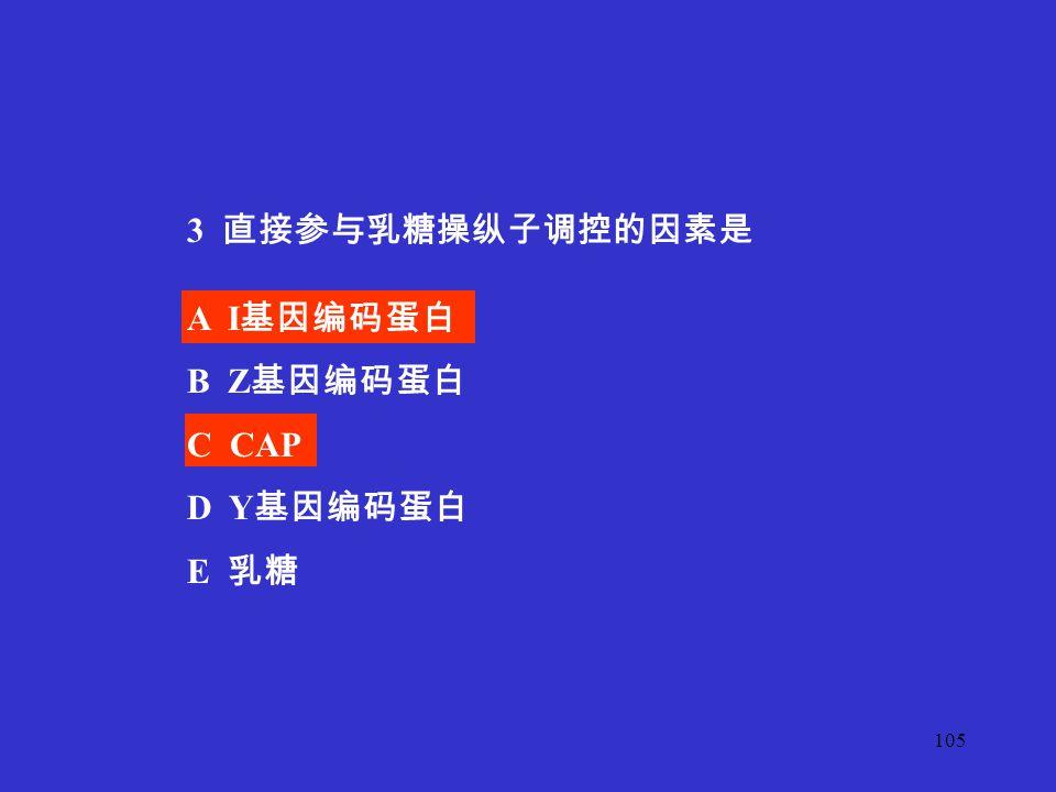 3 直接参与乳糖操纵子调控的因素是 A I基因编码蛋白 B Z基因编码蛋白 C CAP D Y基因编码蛋白 E 乳糖