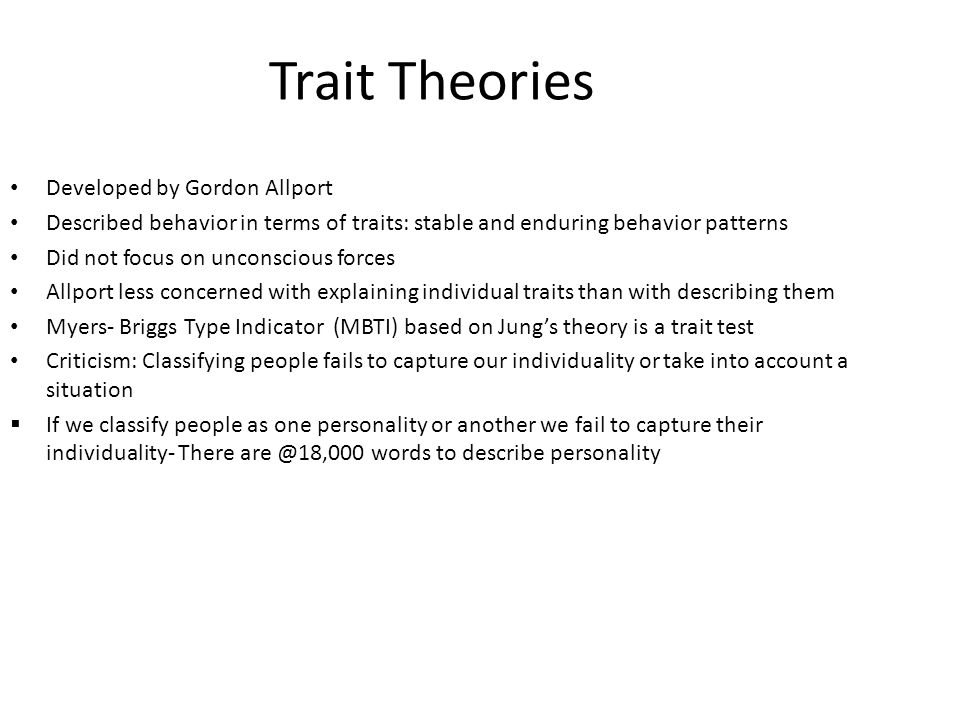 Trait Theories Developed by Gordon Allport