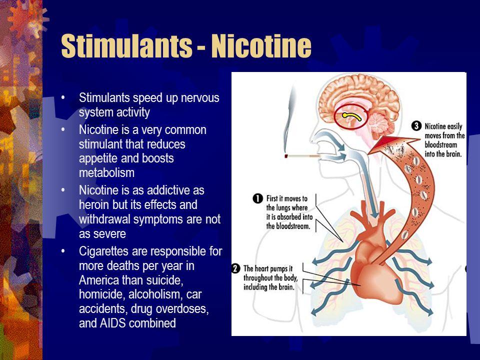 Stimulants - Nicotine Stimulants speed up nervous system activity