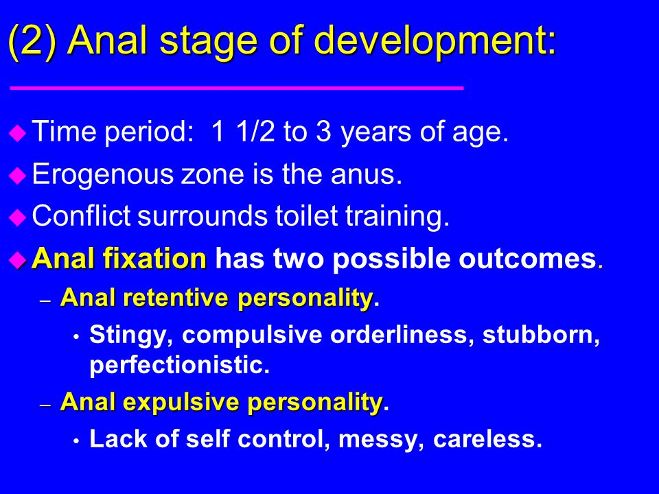 (2) Anal stage of development: