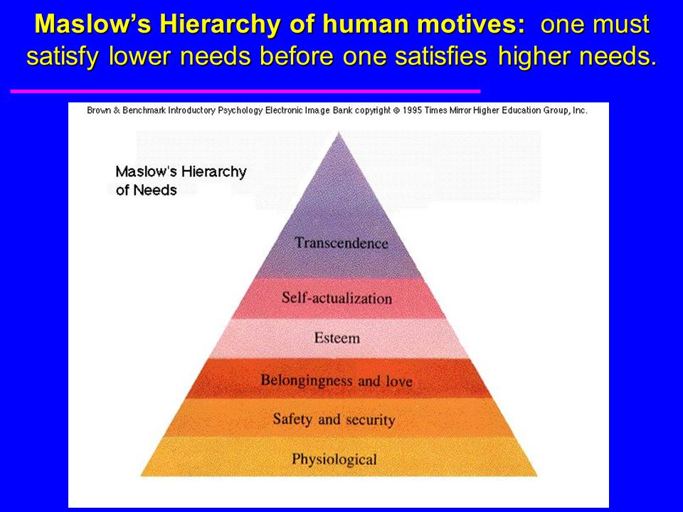 Maslow's Hierarchy of human motives: one must satisfy lower needs before one satisfies higher needs.