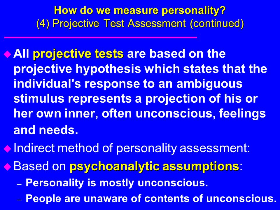 Indirect method of personality assessment: