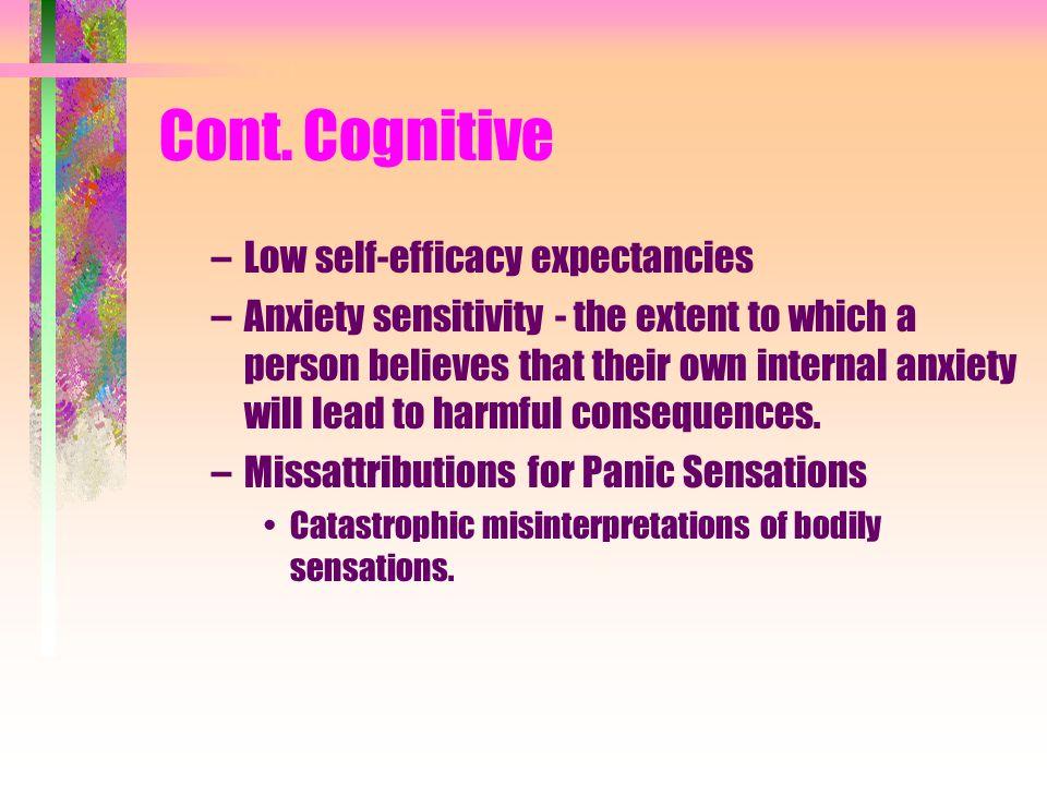 Cont. Cognitive Low self-efficacy expectancies