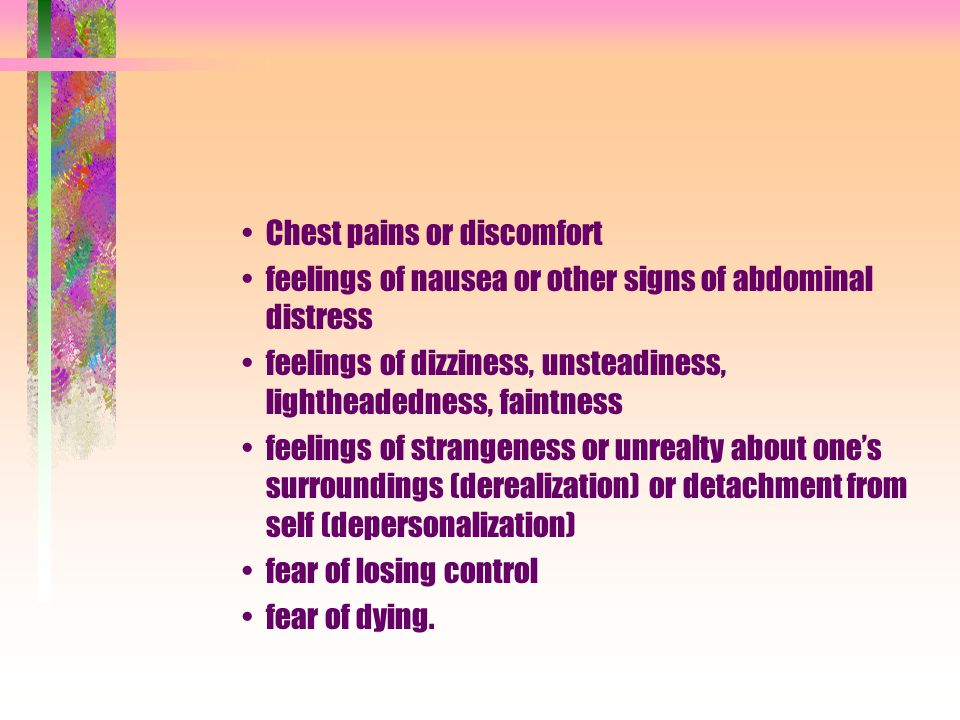Chest pains or discomfort
