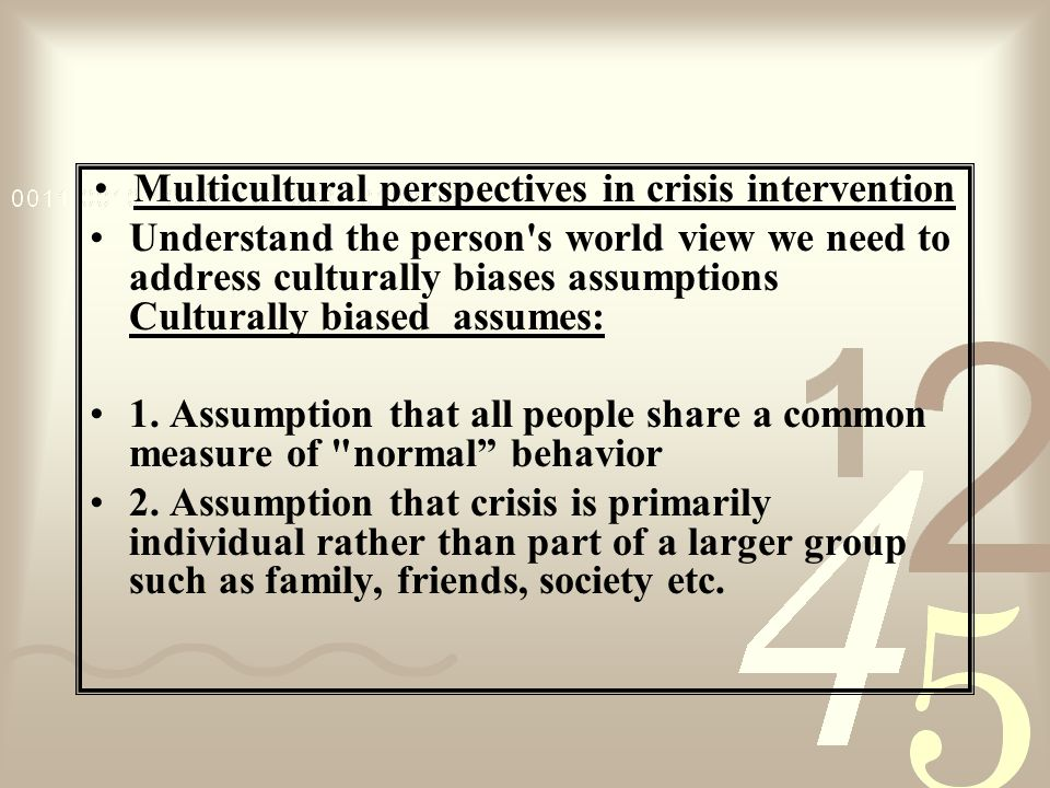 Multicultural perspectives in crisis intervention