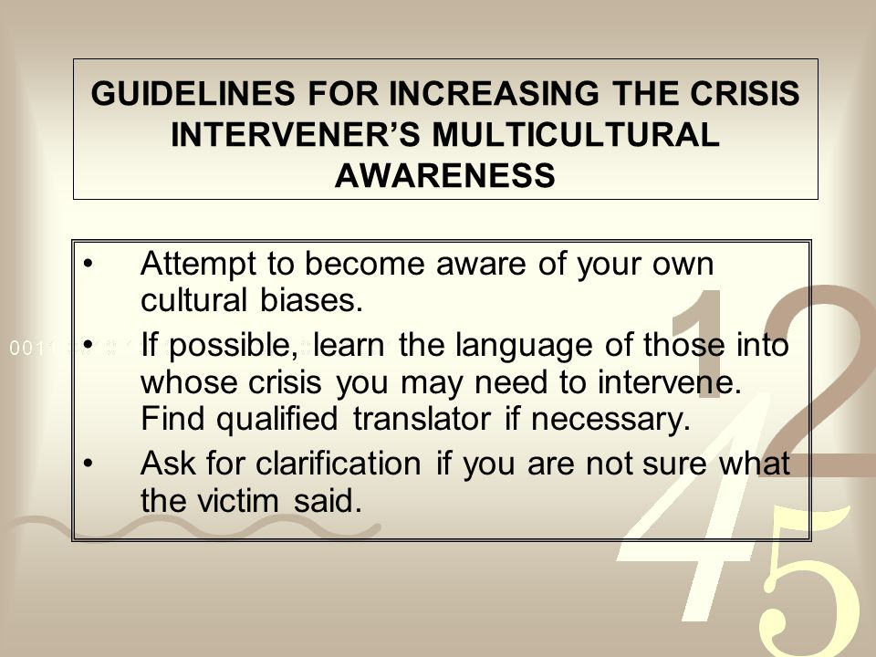 GUIDELINES FOR INCREASING THE CRISIS INTERVENER'S MULTICULTURAL AWARENESS