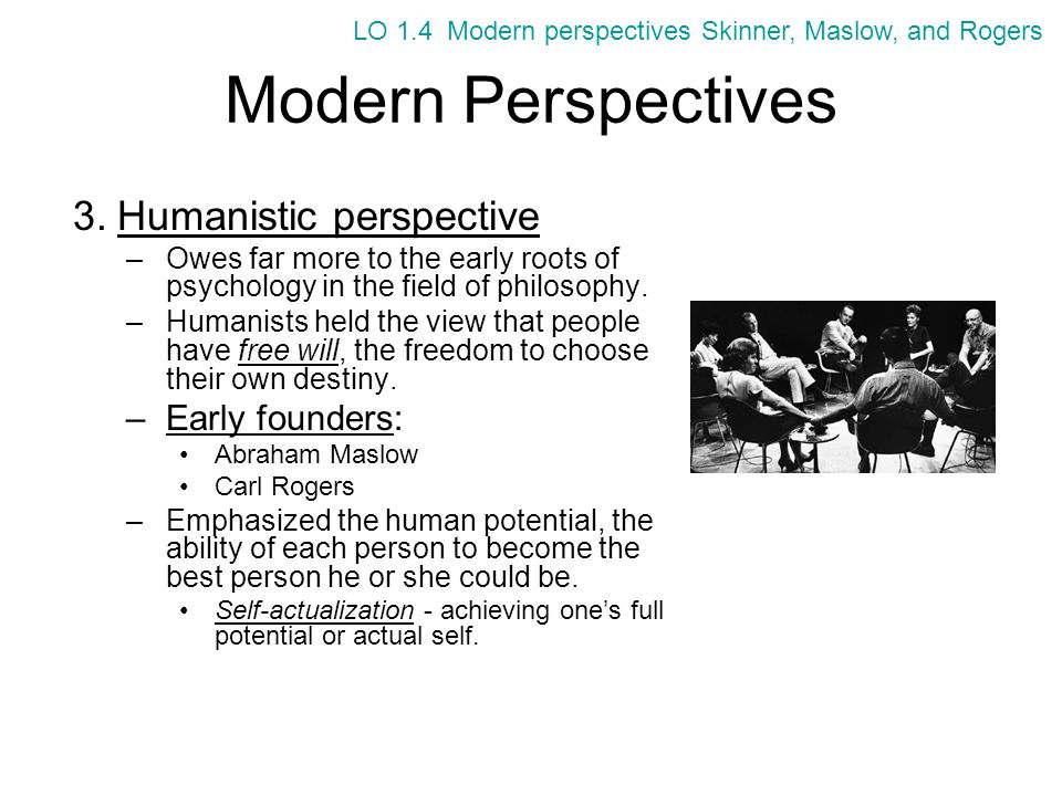 Modern Perspectives Humanistic perspective Early founders: