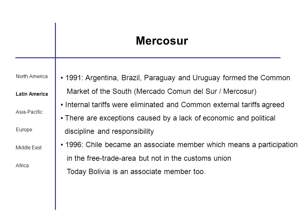 Mercosur North America. Latin America. Asia-Pacific. Europe. Middle East. Africa.