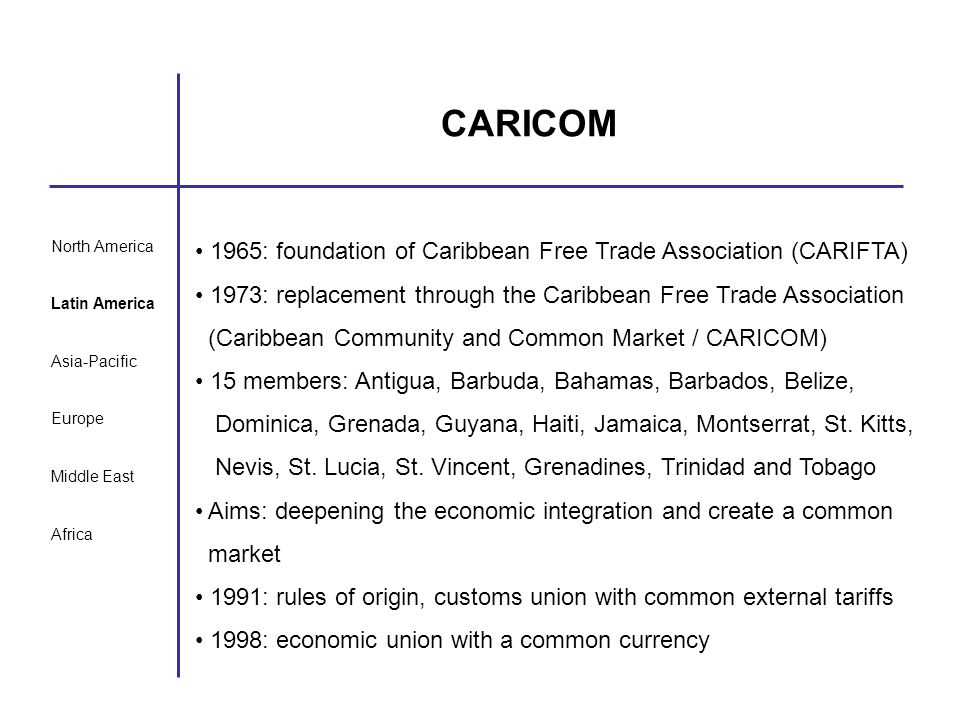 CARICOM 1965: foundation of Caribbean Free Trade Association (CARIFTA)