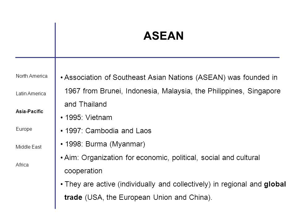 ASEAN Association of Southeast Asian Nations (ASEAN) was founded in