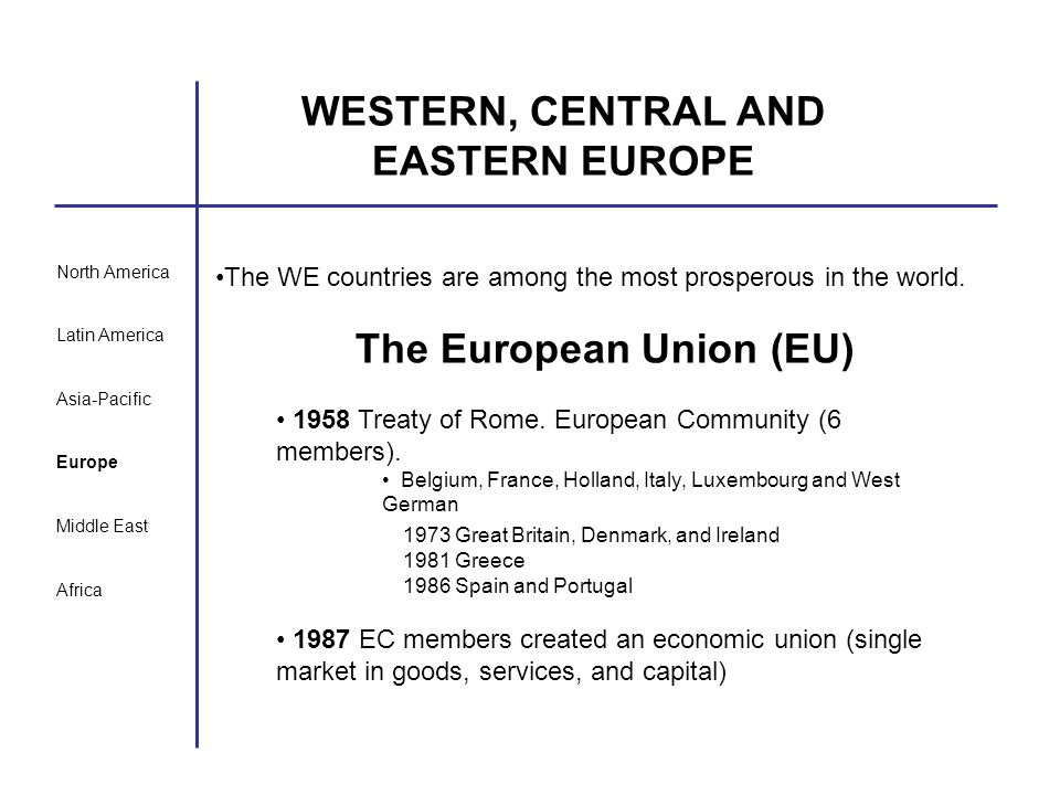 WESTERN, CENTRAL AND EASTERN EUROPE The European Union (EU)