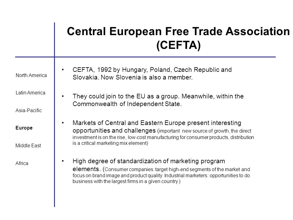 Central European Free Trade Association (CEFTA)